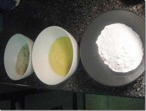 Flour, Egg, Panko Crumbs